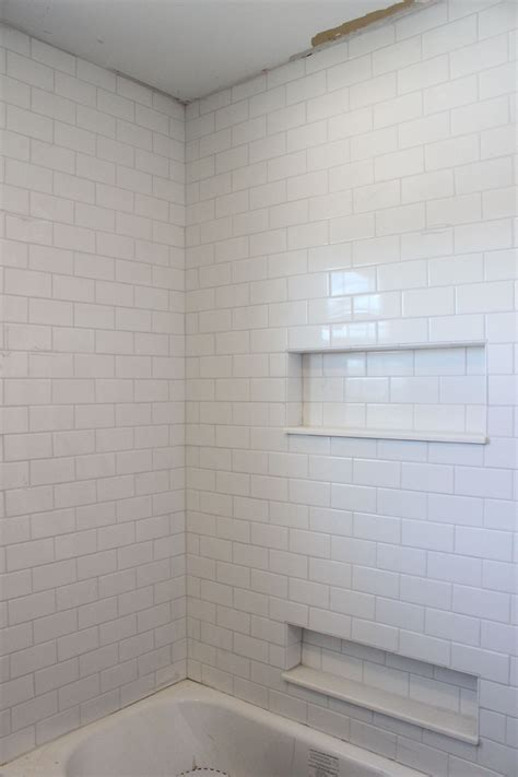 white subway tile shower frost grout  mapei