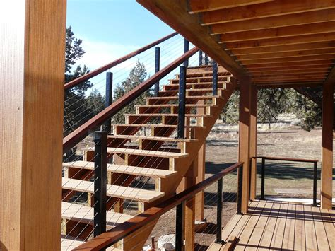 Wood Porch Railing Systems by Black Aluminum Posts With Wood Top Rail
