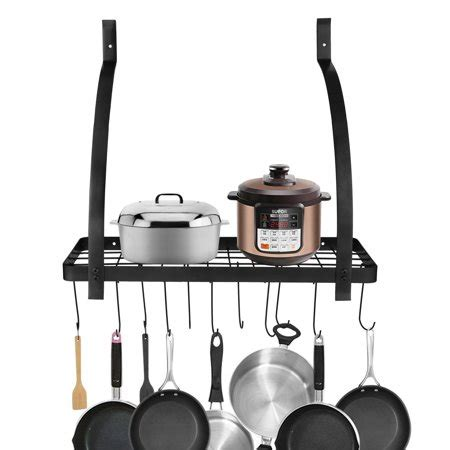 Pan Shelf With Hooks by Kitchen Wall Pot Storage Rack With Hook Cookware Utensils