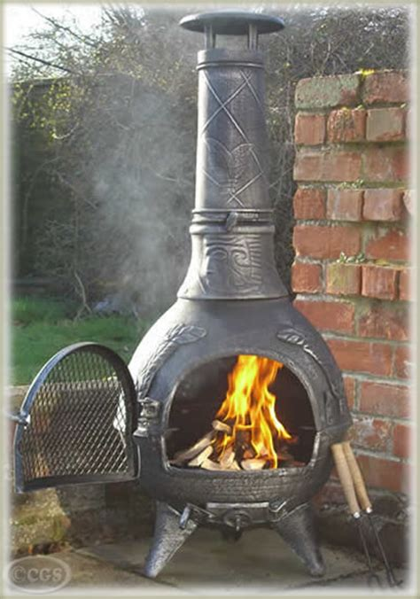 Castmaster Chiminea - castmaster mexican aztec style cast iron chiminea chimenea