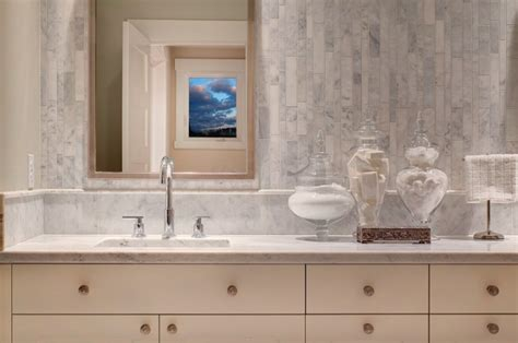 linear marble tiles contemporary bathroom studio 212