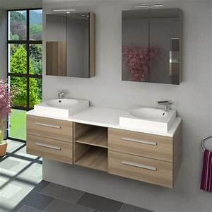 Badmöbel 2 Waschbecken : badm bel set city 307 v1 eiche hell badezimmerm bel waschtisch 160cm ~ Markanthonyermac.com Haus und Dekorationen