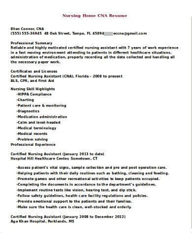 sle cna resume 9 exles in word pdf