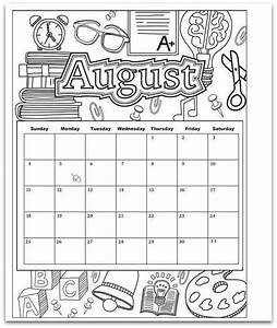 August 2019 Coloring Page Printable Calendar