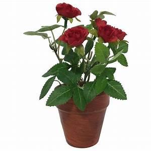 Pot De Fleur Artificielle : rosier artificiel rouge 17 cm fleur artificielle rouge tissu ~ Teatrodelosmanantiales.com Idées de Décoration
