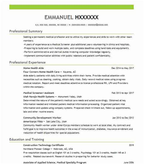 Hha Resume by Home Health Aide Objectives Resume Objective Livecareer