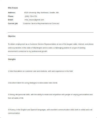 sample medical customer service resume  examples