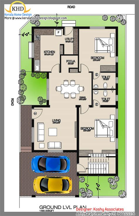 one floor house plans single floor house plan and elevation 1480 sq ft kerala home design and floor plans