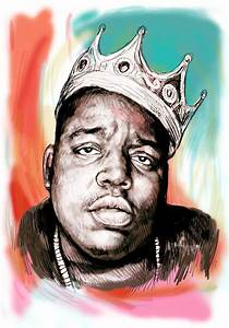 Biggie Smalls Colour Drawing Art Poster Painting by Kim Wang