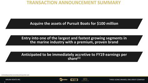 Malibu Boats Pursuit by Mbuu Pursuit Acquisition Presentation Malibu Boats