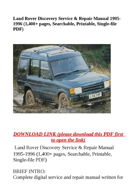 how to download repair manuals 1995 land rover discovery auto manual land rover discovery service repair manual 1995 1996 1 400 pages searchable printable
