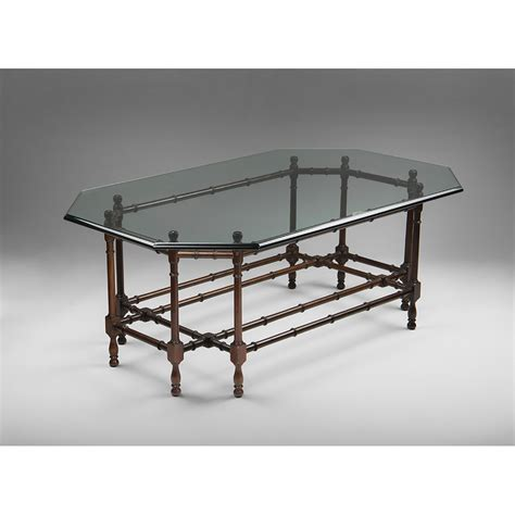 faux bamboo table l vintage faux bamboo coffee table with glass top from