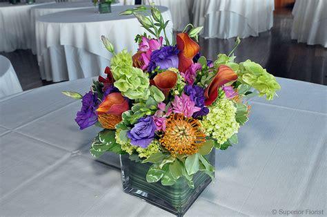 square glass centerpieces superior florist event florals centerpieces
