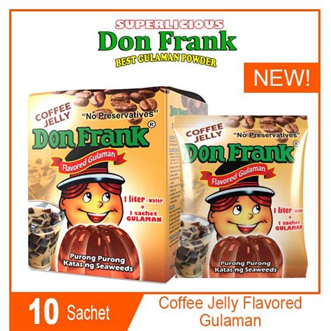 The count climbs with flavored versions, however. Don Frank Gulaman Coffee Jelly Flavor 1 box 10 sachets ...