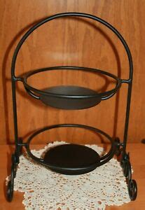 longaberger wrought iron  tiered tier small pie plate rack holder ebay