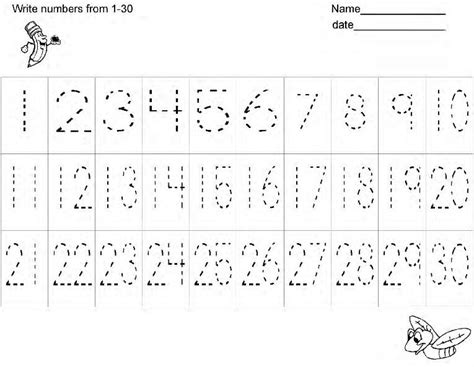 free number writing practice worksheetshandwriting