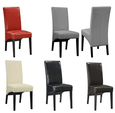 chaise de salle a manger simili cuir noir