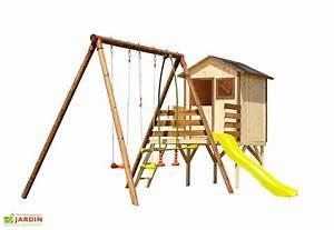 Portique De Jeux : aire de jeux en bois cabane portique toboggan lynda ~ Melissatoandfro.com Idées de Décoration
