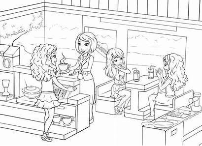 Coloring Lego Friends Pages Restaurant