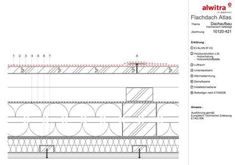 flachdach holzkonstruktion detail flachdach details schichtenaufbau alwitra