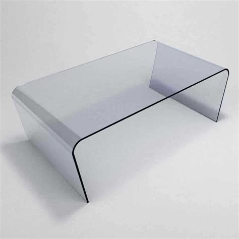 Oblique Curved Glass Coffee Table  Klarity  Glass Furniture