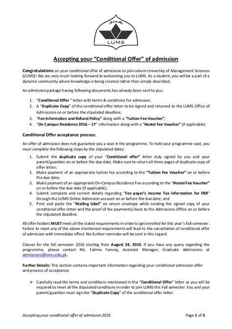 accepting  conditional offer  admission  grad