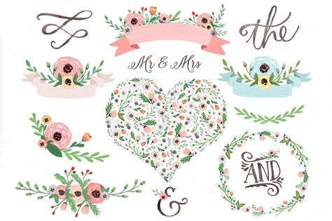 free watercolor clipart pastel watercolor floral clipart illustrations on