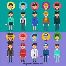 Variety Of Professions Avatars Vector  Free Download