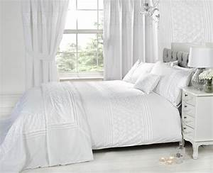 Luxury, White, Bedding, Bed, Sets, Or, Curtains, Matching, Accessories, Embroidered