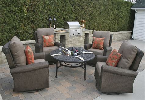 wicker patio set woodbury 7piece patio dining set with