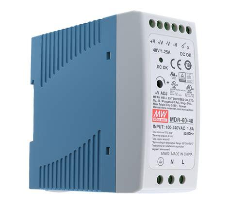 48 VDC | 1,25A | 60Watt | Mean Well MDR-60-48 Hutschienen ...