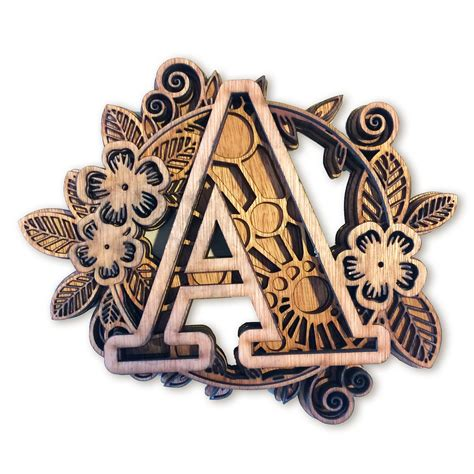 Mandala letters with flowers and geometric shapes. Flower Multi layer mandala 6 layers alphabet letter A ...