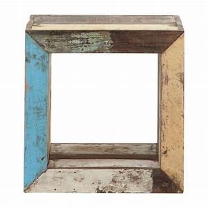 Bout De Canapé : bout de canap cube en bois recycl multicolore l 40 cm ~ Voncanada.com Idées de Décoration