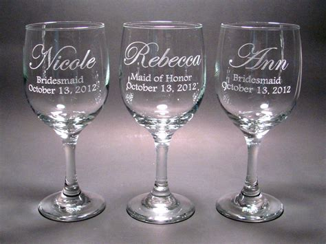 Personalized Barware Glasses - personalized bridal wine glasses set of 4