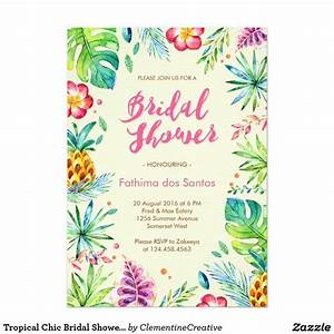 tropical chic bridal shower invitation chic bridal With wedding shower invitations hawaiian theme