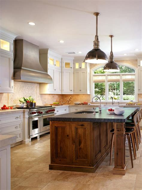 hgtv kitchens with white cabinets walnut island with soapstone white perimeter cabinets 7025