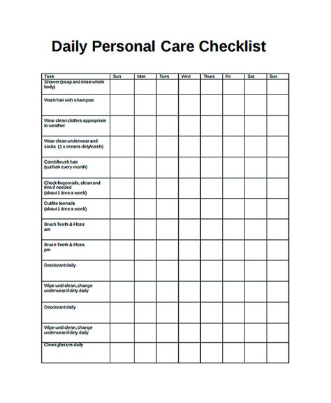 daily checklist template   purposes daily