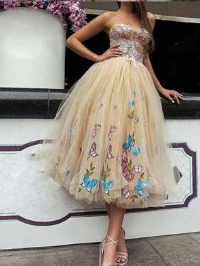 prom dresses  teens strapless butterfly floral tea
