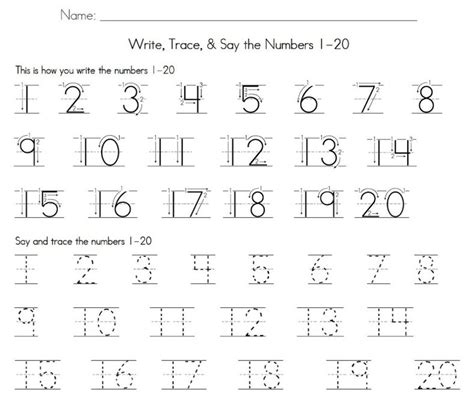 1 20 number tracing learning printable