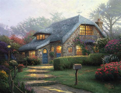 kinkade cottage painting lilac cottage limited edition kinkade studios