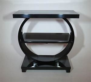 Modernage, American, Art, Deco, Black, Lacquer, Side, Table