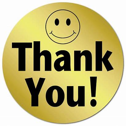 Thank Smiley Face Stickers Foil Circle Sticker