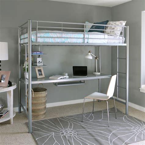 sunrise metal twin loft bed  workstation silver