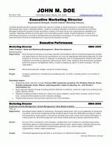 resume format for marketing sle resumes marketing director resume