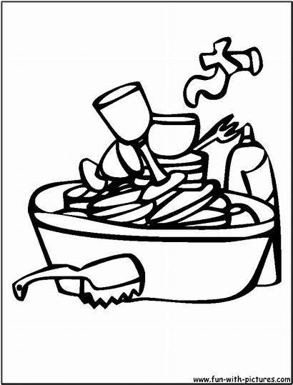 Dishes Dirty Clipart Coloring Sink Washing Broken