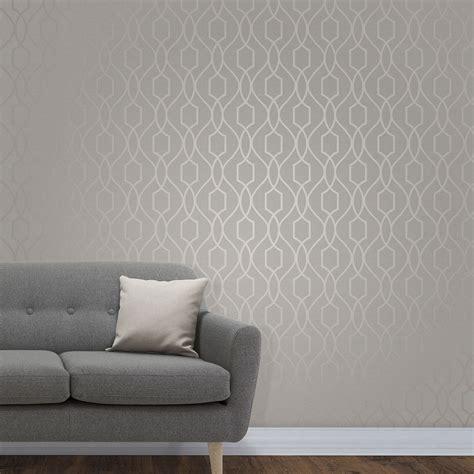 fine decor apex geometric trellis wallpaper stone grey