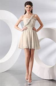 cream elegant a line one shoulder chiffon short ruching With cream dresses for a wedding guest
