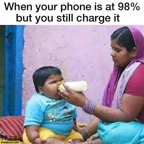 Fat Kid On Phone Meme - when your iphone is at 98 percent but you still charge it fat kid drinking from a bottle