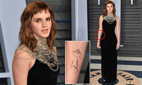 Oscars Emma Watson Debuts Huge New Time Tattoo
