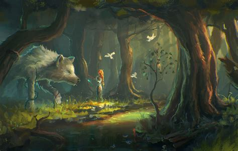 fantasy Art, Wolf, Forest Wallpapers HD / Desktop and ...
